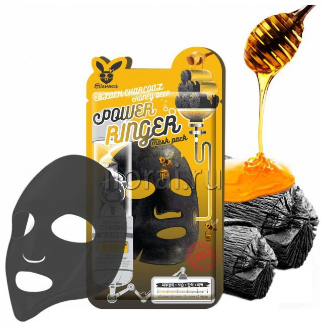 Тканевая маска для лица с древесным углем и медом Elizavecca